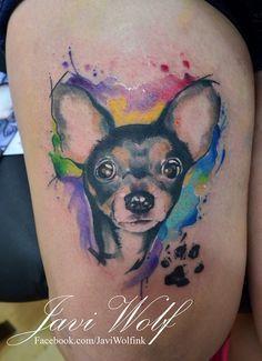 Divino Perro con Huella estilo Acuarelas by Javi Wolf