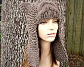 Knit Hat Womens Hat - Dragon Slayer Ear Flap Hat in Taupe Brown - Fall Fashion Accessories