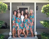 Set of 4 Bridesmaids robes Kimono Crossover by silkandmore Etsy