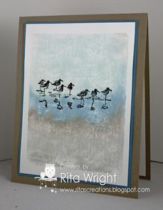handmade card from Rita's Creations ... beach scene ... acrylic block technique ... Wetlands birds ... serene feel ... Stampin' Up!