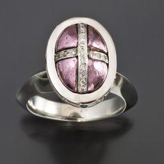 Purple gold set into platinum ring with diamonds by Douglas Zaruba. http://www.vortex13.com