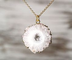 Stalactite Necklace Natural Solar Quartz Slice by TheSilverWhale