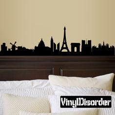 Paris Skyline Vinyl Wall Decal or Car Sticker SS022