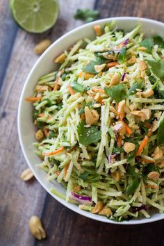 Easiest Ever 5 Minute Thai Peanut-Ginger Slaw by thewanderlustkitchen #Slaw #Peanut #Ginger #Healthy #Easy