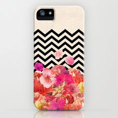 Chevron Flora II iPhone Case by Bianca Green