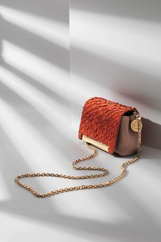 Escada 2013: Petite pochette shoulder bag with a contrast-color flap in 100% fish skin; long chain-link strap and ESCADA logo coin tag