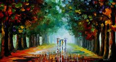 Rain oil painting  Bright Rain  Rain wall art by AfremovArtStudio