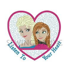 FROZEN ELSA & ANNA Embroidery Design 5x7 6x10 Download Listen To Your Heart Frozen Sisters Love Pattern