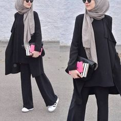Hijab Fashion palazzo pants with hijab- How to style Adidas shoes with hijab www.justtrendygir Hijab Fashion Sélection de looks tendances spécial voilées Look Descreption palazzo pants with hijab- How to style Adidas shoes with hijab www. Hijab Fashion 2016, Muslim Fashion, Modest Fashion, Fashion Outfits, Womens Fashion, Fashion Styles, Style Fashion, Hijab Fashionista, Casual Hijab Outfit
