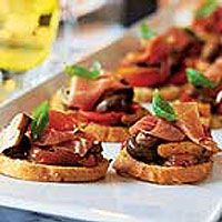 Crostini with Peppers and Parma Ham - Roasted peppers for Canapes