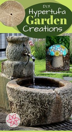 Hypertufa is a lighter than concrete cement mix that can be cast for a smooth appearance or even formed in your hands into any shape like wet sand. There is a trick to learn about the curing process, read on to learn more. Garden Crafts, Garden Projects, Garden Art, Art Projects, Concrete Cement, Concrete Crafts, Concrete Projects, Vista Garden, Container Water Gardens