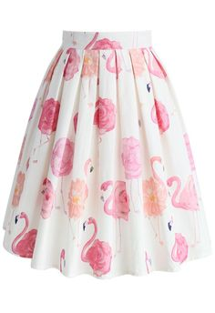 Flaming-rose Pleated A-line Skirt - New Arrivals - Retro, Indie and Unique Fashion
