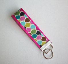 Chevron Key FOB / KeyChain / Wristlet   candy jewels by Laa766  preppy / fabric / cute / patterns / key chain / office, nurse, student id, badge / key leash / gifts / key ring