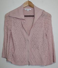 $29.95 OBO CAbi Light Pink Style Pointelle Knit Button Down Sweater Style #918 3/4 Sleeve S #CAbi #Cardigan #freeshipping