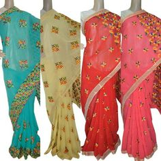 Georgette Phulkari Saree Rs.2,999.00 Shop Now: www.jankiphulkari.com