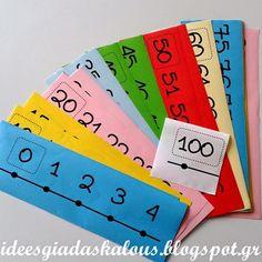 Ιδέες για δασκάλους:Πολύχρωμη αριθμογραμμή ως το 100