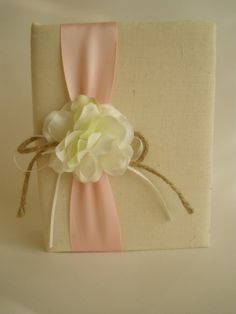 Rustic Wedding Photo Album - White Hydrangeas - Pink - Handmade and Gift Wrapped - Free Shipping on Etsy, $33.99