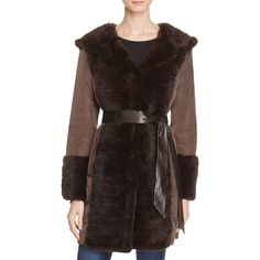 Maximilian Furs Leather Belt Mink Fur Trim Down Coat (£772) ❤ liked on Polyvore featuring outerwear, coats, brown, brown mink coat, feather coat, mink fur coat, down coat and hooded coat
