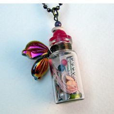 Fairy Tale Necklace Mad HATTER Bottle Necklace With by Msemrick, $30.00