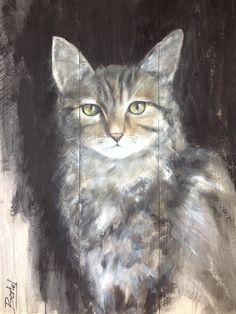 Dieren op hout Schilderij van dieren op steigerhout Painting cat on wood www.boxart.be