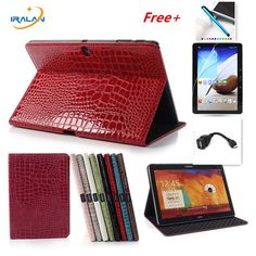 2017 NEW Crocodile Stand Pu Leather Case Book Cover  For Samsung GALAXY Tab pro 10.1 T520 T521 T525 Tablet case+otg+stylus+Film