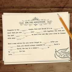 wedding mad libs. SO sad I didn't know about these when we got married. great party idea though. #parties