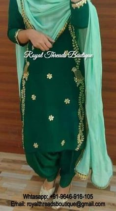 Colors & Crafts Boutique™ offers unique apparel and jewelry to women who value versatility, style and comfort. For inquiries: Call/Text/Whatsapp Patiala Salwar Suits, Salwar Suits Party Wear, Indian Salwar Suit, Indian Suits, Indian Wear, Embroidery Suits Punjabi, Embroidery Suits Design, Embroidery Designs, Designer Punjabi Suits
