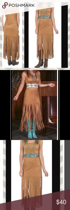 Faux suede fringe rodeo western dress M/L A faux suede dress with fringe. Sleeveless. Size medium, but a roomy medium so it might fit a large as well. Pair it with boots for a western look, pair it with the right jewelry for a more bohemian look or wear it to a costume party. Comfortable material made with 90%polyester and 10% spandex. Jewelry and belt not included. Brand is Wrangler. Bundle it with other items in my closet to receive a discount on your purchase. Dresses