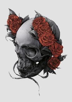 DEATH OR GLORY by Tomasz Majewski, via Behance #death #skull #illustration #drawing #roses