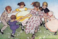 Posterazzi The Little Mother Goose 1918 Ring a ring a roses Canvas Art - Jessie Willcox Smith x Classic Nursery Rhymes, Mother Goose, Children's Book Illustration, Book Illustrations, Jessie, Kids Playing, Playing Card, In This World, Childrens Books