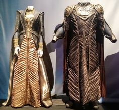 "Costumes for ""Lara Lor-Van"" (as worn by Ayelet Zurer) & ""Jor-El"" (as worn by Russell Crowe) from 'Man of Steel' 2013. Costumes designed by James Acheson and Michael Wilkinson."
