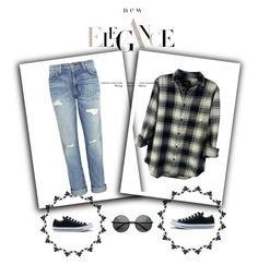 """Street Look"" by hedija011 ❤ liked on Polyvore featuring Rails, Current/Elliott and Converse"