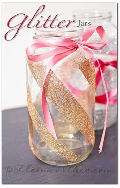 2015 DIY pink bow glitter mason jar with striped ribbon - Christmas gift, home decor