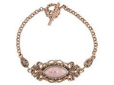 Tillya Treasures (Tm) Peruvian Pink Opal & Marcasite 18kt Rg Over Sterling Silver Bracelet