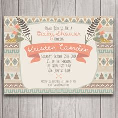 Tribal Boho Baby Shower Invitation Digital Download, Arrows, Bohemian Wedding Bridal Bachelorette Party, Birthday Party Invite Printable