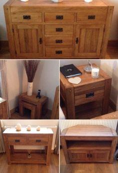 Quercus Solid Oak Range   Corner TV Cabinet, Large Sideboard, Nest Of Side  Tables