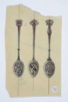Gustav Gaudernack. Ink drawing/watercolor of three dragon style coffee spoons in enamel and silver.Tegning @ DigitaltMuseum.no