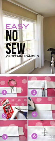 How to make no sew curtain panels 2 different ways. Budget decorating window treatment with step-by-step photo tutorial.