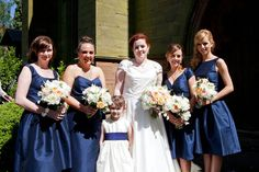 Me and the girls in our 1960s-inspired glory. Bridesmaids dresses by Alfred Sung. Flowers by B1 Blooms. © Lucy Johnston Photography