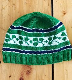 Free Knitting Pattern for Ireland Rugby Hat - Beanie featuring shamrock colorwork motifs. Pictured project by IamKateQuinn