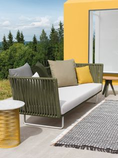 """Outdoor sofa from Rodolfo Dordoni for Kettal. Part of the Bitta collection; in Italian, Bitta translates to """"mooring,"""" alluding to braided elements of the design. Outdoor Sofa, Modern Outdoor Furniture, Simple Furniture, Classic Furniture, Outdoor Seating, Contemporary Furniture, Luxury Furniture, Furniture Design, Furniture Showroom"""