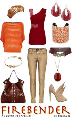 """Firebender (outfit for women) by Rhosauce"" by rhosaucey on Polyvore"