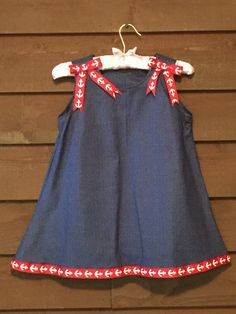 Navy Girls Dress with Red Anchor Trim by SimplyStitchedbyMKM