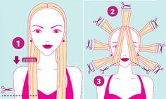 Corte: longo despontado.   Base: penteie e corte reto na altura dos seios (1).   Repicado: eleve mechas e repique os fios ao redor da cabeça...