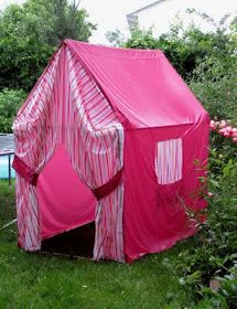 DIY PVC pipe playhouse with bed sheet cover