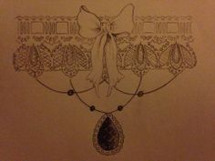 the victorian garter design ornamented with jet and black pearls