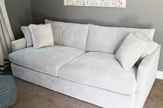 "Crate and Barrel's 93"" Lounge Sofa in light gray microfiber"