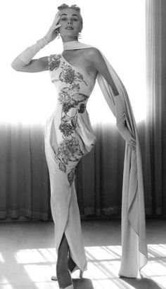 1950s one Shouldered Column Evening Dress