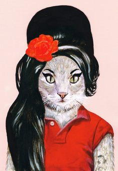 Amy Winehouse Cat: Art Print Illustration Acrylic Painting Animal Painting Wall Decor Wall hanging Wall Art illustration Glicee Digital on Etsy, $15.00