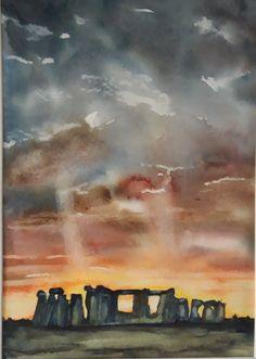 Stonehenge sunset Watercolour painting 30 x 27 cm Sunset Watercolour, Watercolour Painting, Stonehenge, Sunsets, Original Artwork, Art Drawings, Sunset, Art Paintings